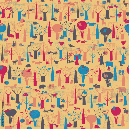 Wood Animals tapestry seamless pattern in colors