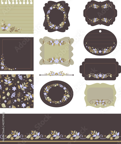 tags and backgrounds with floral motifs