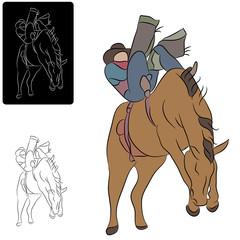 Cowboy and Bucking Horse