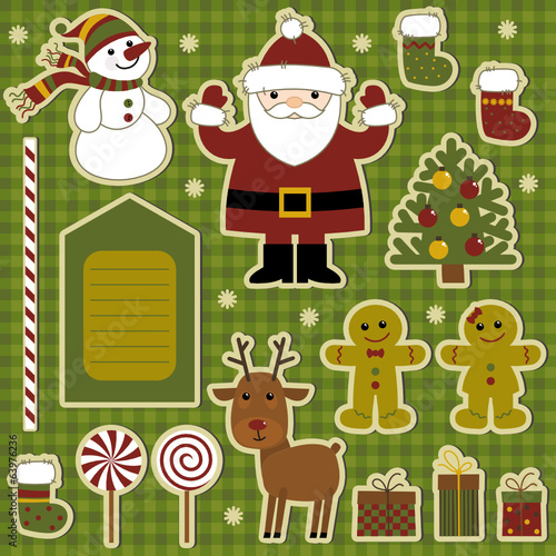collection of items for scrapbooking, merry christmas