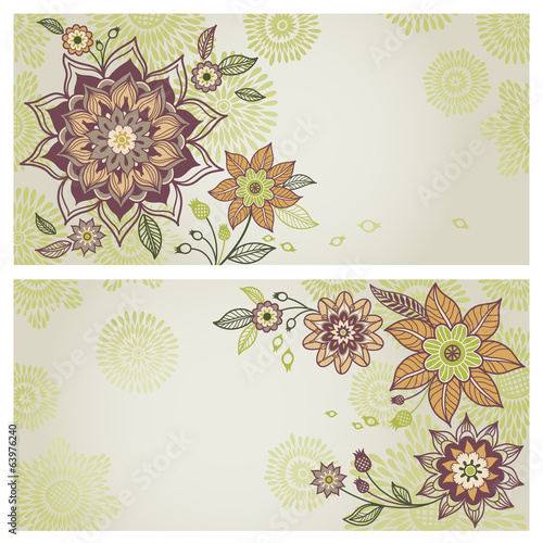 Vintage greeting cards with floral motifs in east style.
