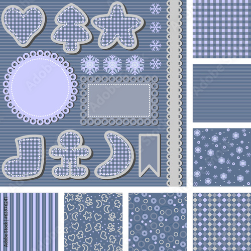set of backgrounds and images for scrapbooking