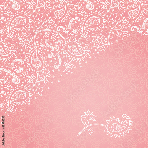 Vintage greeting card with floral motifs in east style.