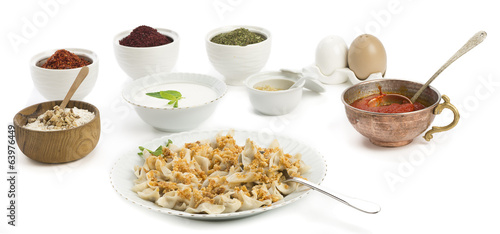 Traditional Turkish food manti isolated on white