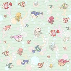 Marine life.Seamless pattern.Vector illustration.