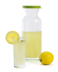 Fresh lemonade isolated on white background