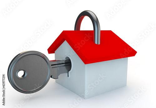 a padlock in the shape of a house with a key in
