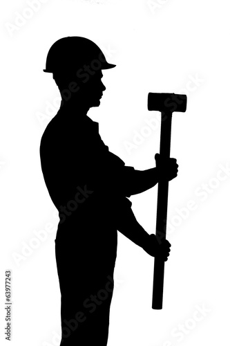silhouette of worker with hammer isolated on white background