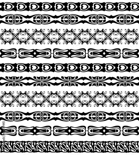 Set of seamless lase trims border pattern