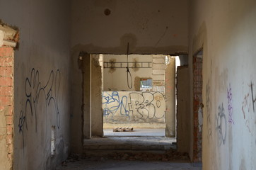 Interior of an old abandoned building - hall