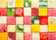 Leinwanddruck Bild - Background pattern and texture of fruit cubes