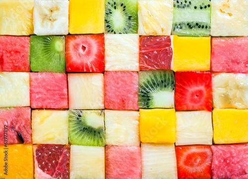 Leinwanddruck Bild Background pattern and texture of fruit cubes