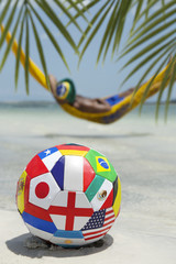 Brazilian Relaxing World Soccer Football in Beach Hammock