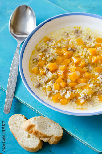 meat soup with wheat and pumpkin