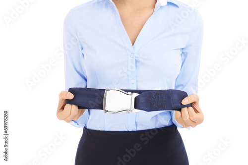 Stewardess and belt