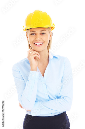 Woman in yellow helmet