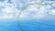 Blue ocean landscape with rainbow