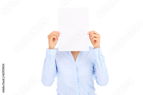 Businesswoman and blank paper