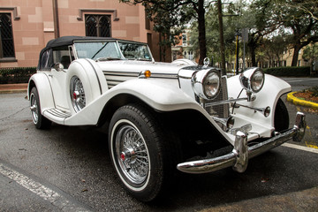 white classic luxury sports car