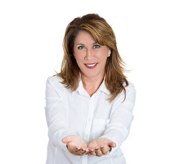 Portrait of middle aged woman Offering help, white background