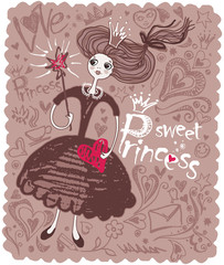 Sweet Princess.   Retro card with a princess girl.