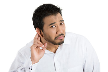 Speak up, can't hear. Man having hearing difficulties