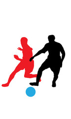 Separated silhouettes of soccer players