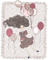 Retro card. Girl with balloons.