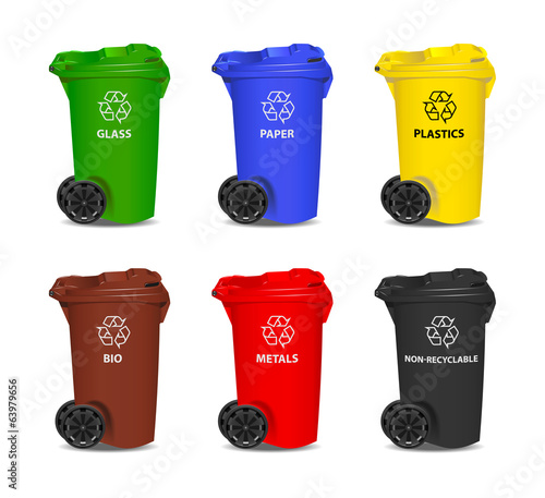 Set of colorful recycling bins. Vector.