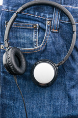 headphone on blue jean background