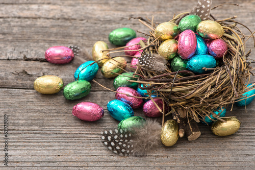 chocolate easter eggs in nest