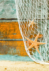 Rustic marine background with starfish