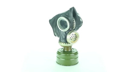 Gas mask rotates on a white background loop