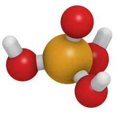 Phosphoric acid (H3PO4) molecule, chemical structure.
