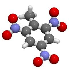 Trinitrotoluene (TNT) explosive molecule.