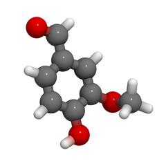 Vanillin (vanilla flavor) molecule, chemical structure