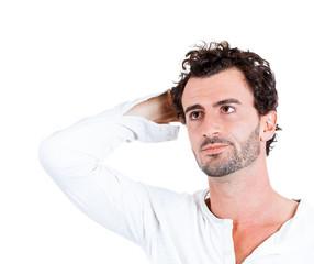 Portrait man having Headache, migraine, problems