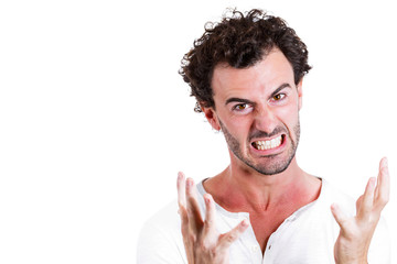 Portrait Pissed off, frustrated man on white background