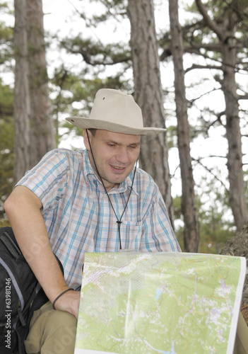 Hiker with a map