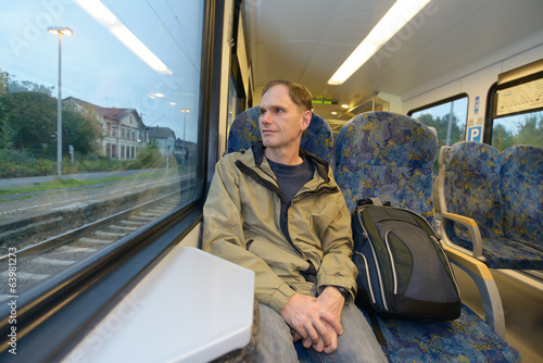 Passenger in a train