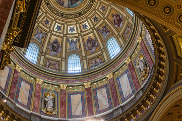BUDAPEST, HUNGARY - SEP 29: Interior of St. Stephen's Basilica,