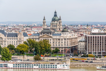 BUDAPEST, HUNGARY - SEP 30: Cityscape view at Danube River, St.