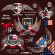 Collection of vector decorative heraldic elements USA symbols