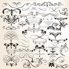 Collection of vector vintage flourishes and swirl elements