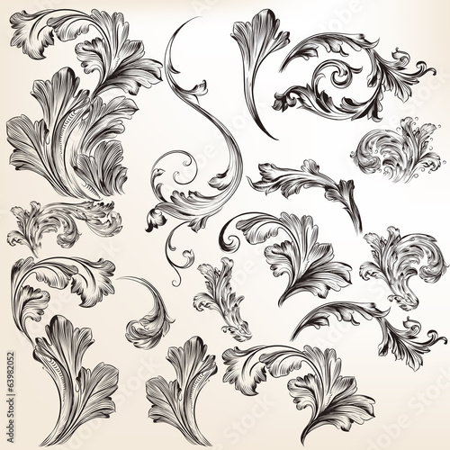 Collection of vector swirl flourishes for design