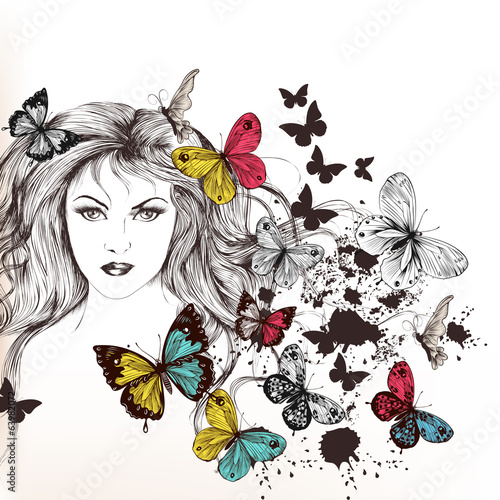 Fashion vector background with pretty girl and butterflies