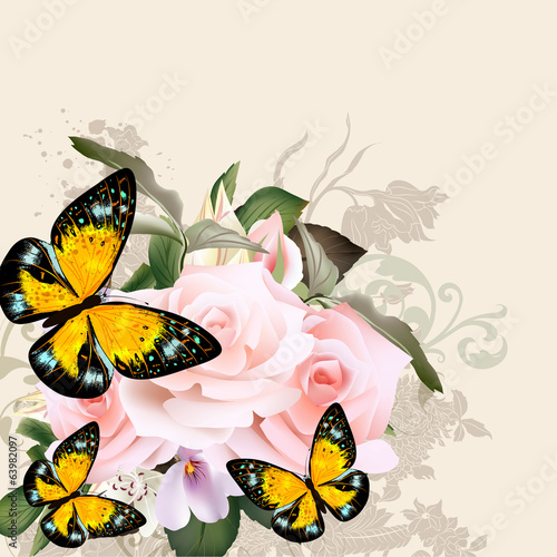 Floral vector pattern with roses and butterflies