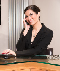Beautiful Woman Attractive Business Person Office Desk Answering