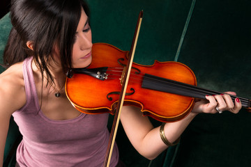 Sensual Attractive Woman Playing Concert Acoustic Violin