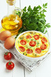 Leinwanddruck Bild - Omelet with vegetables and cheese. Frittata